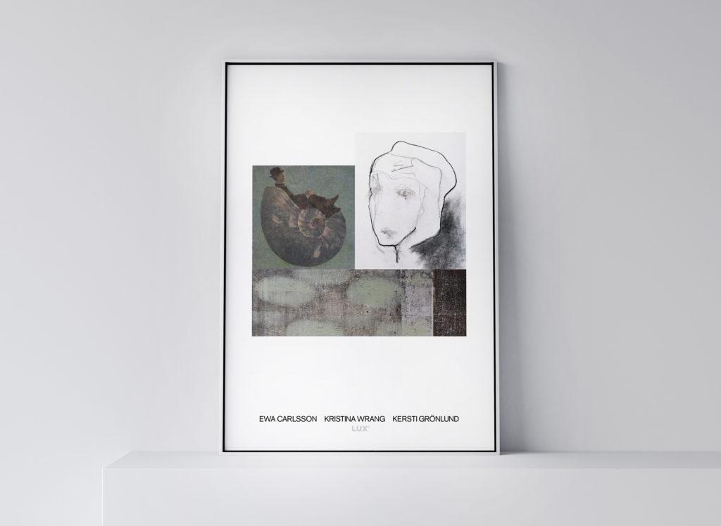 Konstposter från utställning med Ewa Carlsson, Kristina Wrang samt Kersti Grönlund